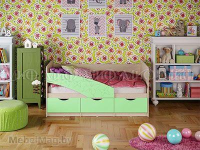 Кровать Бабочка - Матовый салатовый