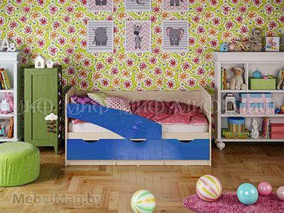 Кровать Бабочка - Глянец синий