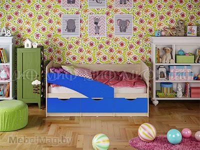 Кровать Бабочка - Матовый синий