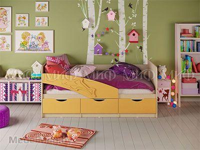 Кровать Дельфин - Матовый желтый (1,8м)