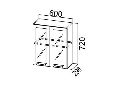Кухонный гарнитур  Карамель  Шкаф навесной (со стеклом) Ш600с Дуб Млечный/Дуб Млечный