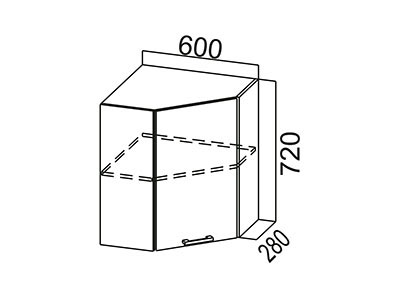 Кухонный гарнитур  Карамель  Шкаф навесной (угловой) Ш600у Дуб Млечный/Дуб Млечный