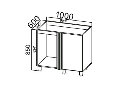 Стол-рабочий 1000 (угловой под мойку) М1000у ЛДСП Лен