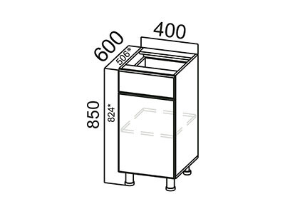 Стол-рабочий 400 (с ящиком и створками) С400яс ЛДСП Лен