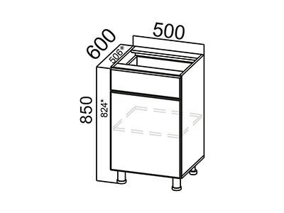 Стол-рабочий 500 (с ящиком и створками) С500яс ЛДСП Лен