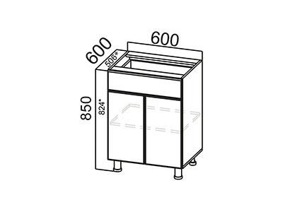 Стол-рабочий 600 (с ящиком и створками) С600яс ЛДСП Лен
