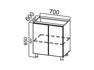 Стол рабочий 700 С700 ЛДСП Лен