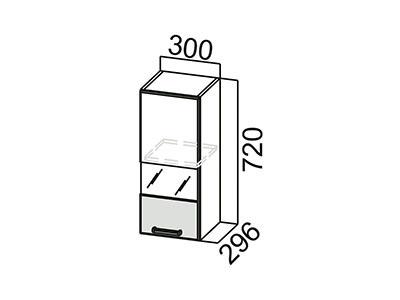 Шкаф навесной 300 (со стеклом) Ш300с/720 Дуб Сонома-Арабика