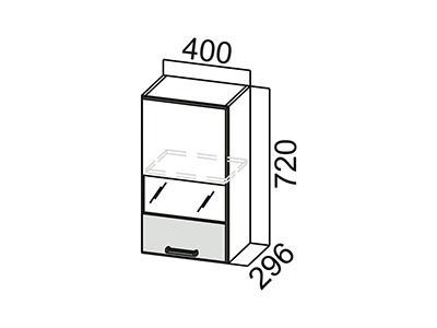 Шкаф навесной 400 (со стеклом) Ш400с/720 Дуб Сонома-Арабика