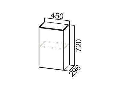 Шкаф навесной 450 Ш450/720 ЛДСП Лён / Лакобель коричневый
