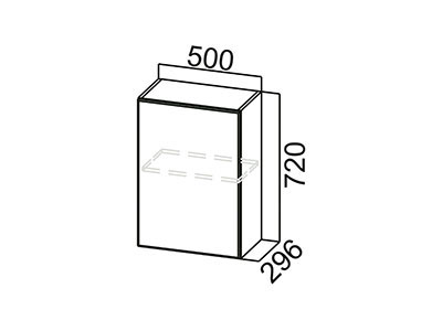 Шкаф навесной 500 Ш500/720 ЛДСП Лён / Лакобель коричневый