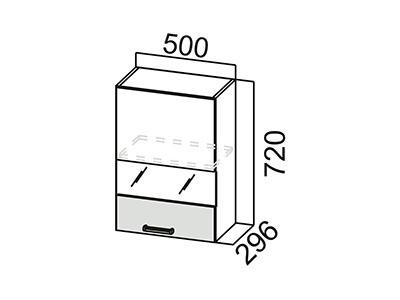 Шкаф навесной 500 (со стеклом) Ш500с/720 Дуб Сонома-Арабика