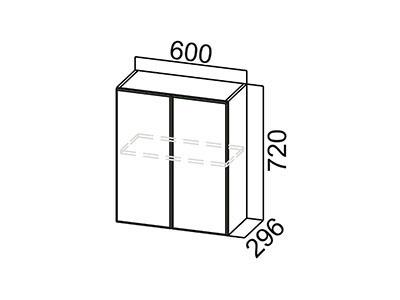 Шкаф навесной 600 Ш600/720 ЛДСП Лён / Лакобель коричневый