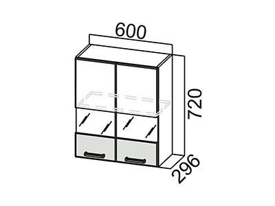 Шкаф навесной 600 (со стеклом) Ш600с/720 Дуб Сонома-Арабика