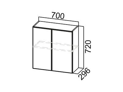 Шкаф навесной 700 Ш700/720 ЛДСП Лён / Лакобель коричневый