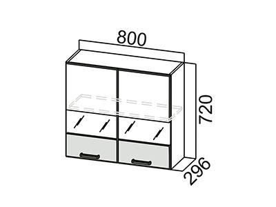 Шкаф навесной 800 (со стеклом) Ш800с/720 Дуб Сонома-Арабика