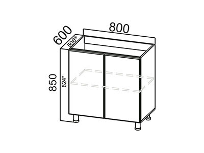 Стол-рабочий 800 (под мойку) М800 Серый / Модерн / Гранат мет.