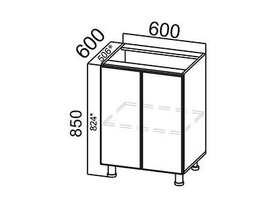 Стол-рабочий 600 С600 Серый / Модерн / Груша глянец
