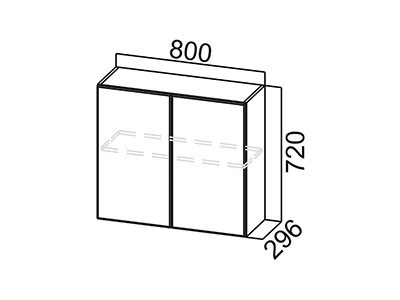 Шкаф навесной 800 Ш800/720 Серый / Модерн / Гранат мет.