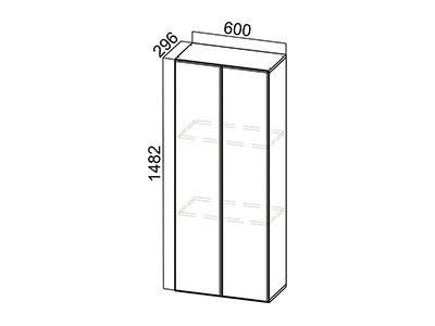 Пенал-надстройка 600 ПН600/912 (296) Серый / Модерн / Фиолетовый Металлик