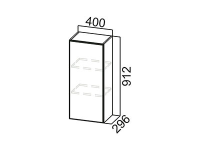 Шкаф навесной 400 Ш400/912 Серый / Модерн / Олива мет.