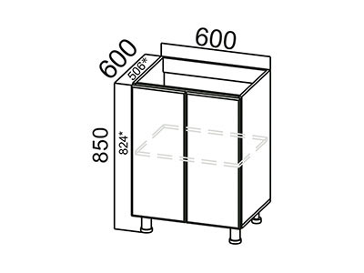Стол-рабочий 600 (под мойку) М600 Серый / Волна / Капучино