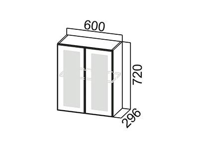 Шкаф навесной 600 (со стеклом) Ш600с/720 Серый / Волна / Белый глянец