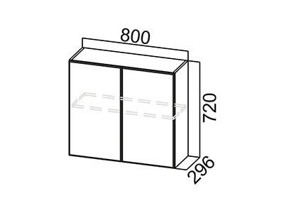 Шкаф навесной 800 Ш800/720 Серый / Волна / Белый глянец