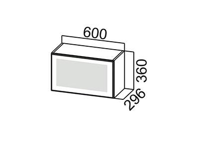 Шкаф навесной 600 (горизонтальный со стеклом) ШГ600с/360 Серый / Волна / Горький шоколад