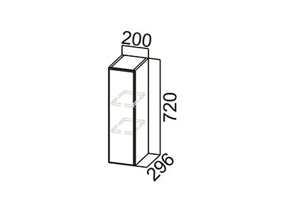 Шкаф навесной 200 Ш200/720 Серый / Волна / Горький шоколад