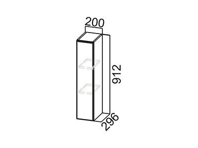 Шкаф навесной 200 Ш200/912 Серый / Волна / Горький шоколад