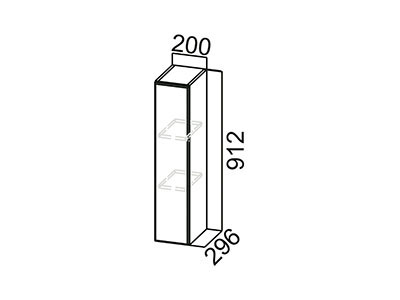 Шкаф навесной 200 Ш200/912 Серый / Волна / Олива мет