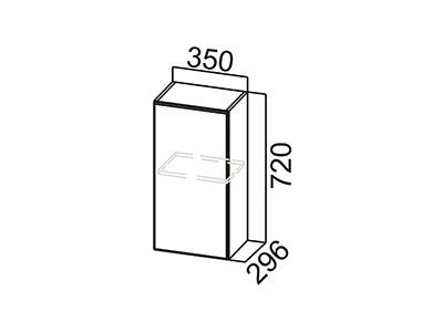 Шкаф навесной 350 Ш350/720 Серый / Волна / Олива мет