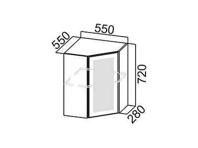 Шкаф навесной 550 (угловой со стеклом) Ш550ус/720 Серый / Волна / Белый глянец