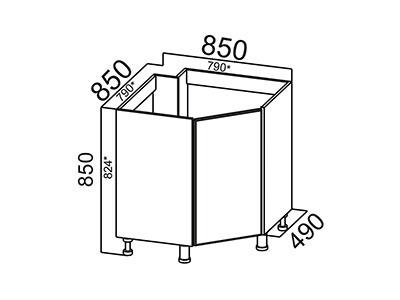 Стол-рабочий 850 (угловой под мойку) М850у Белый / Волна / Олива мет.