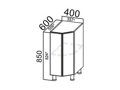 Стол-рабочий 400 (торцевой) С400т Белый / Волна / Олива мет.