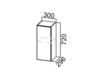 Шкаф навесной 300 Ш300/720 Белый / Волна / Олива мет