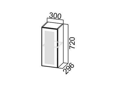 Шкаф навесной 300 (со стеклом) Ш300с/720 Белый / Волна / Олива мет