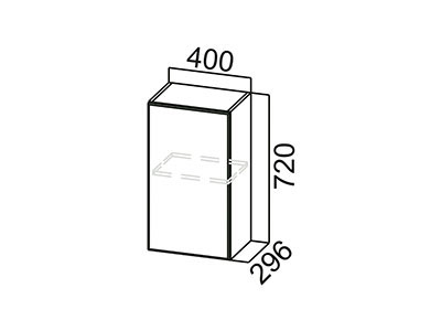 Шкаф навесной 400 Ш400/720 Белый / Волна / Горький шоколад