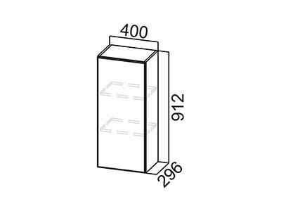 Шкаф навесной 400 Ш400/912 Белый / Волна / Горький шоколад