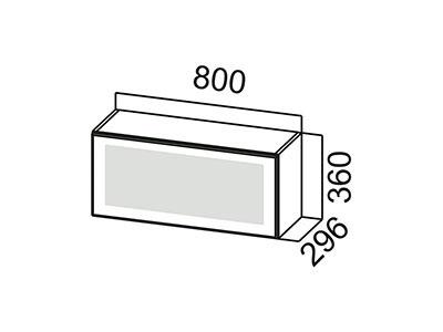Шкаф навесной 800 (горизонтальный со стеклом) ШГ800с/360 Белый / Волна / Белый глянец