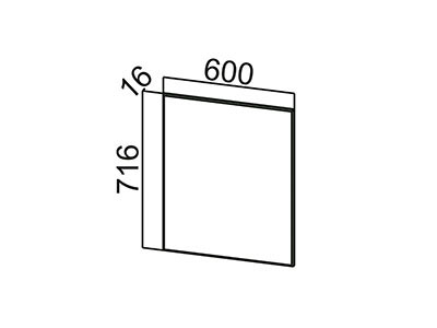 Фасад для посудомоечной машины 600 ФП600 Лаура/Графит глянец