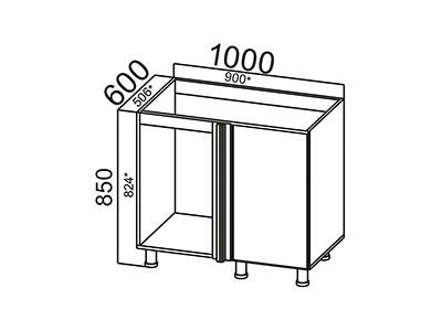 Стол-рабочий 1000 (угловой под мойку) М1000у Серый / Лаура / Графит глянец
