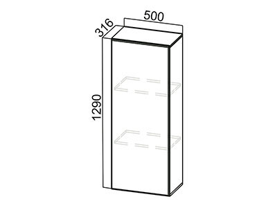 Пенал-надстройка 500 ПН500/720 Серый / Лаура / Ваниль