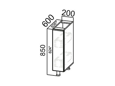 Стол-рабочий 200 (бутылочница) С200б Серый / Лаура / Груша глянец