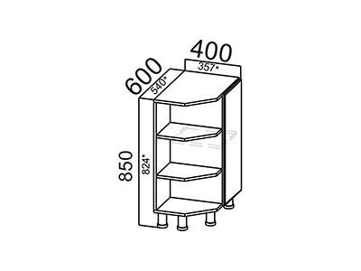 Стол-рабочий 400 (торцевой с полками) С400тп Серый / Лаура / Графит глянец