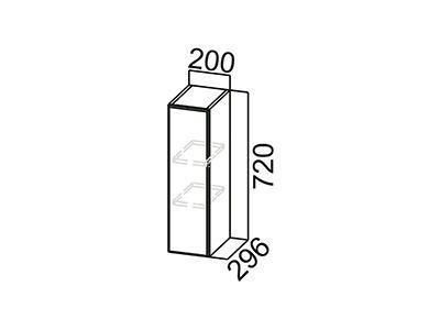 Шкаф навесной 200 Ш200/720 Серый / Лаура / Графит глянец