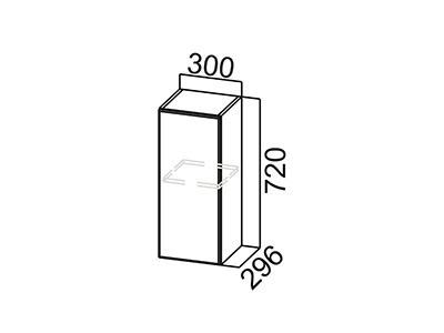 Шкаф навесной 300 Ш300/720 Серый / Лаура / Графит глянец