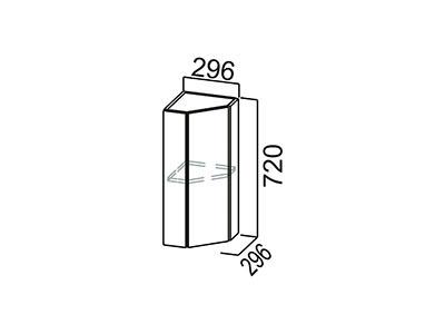 Шкаф навесной 300 (торцевой закрытый) Ш300тз/720 Серый / Лаура / Графит глянец