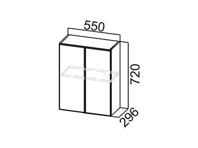 Шкаф навесной 550 Ш550/720 Серый / Геометрия / Ваниль